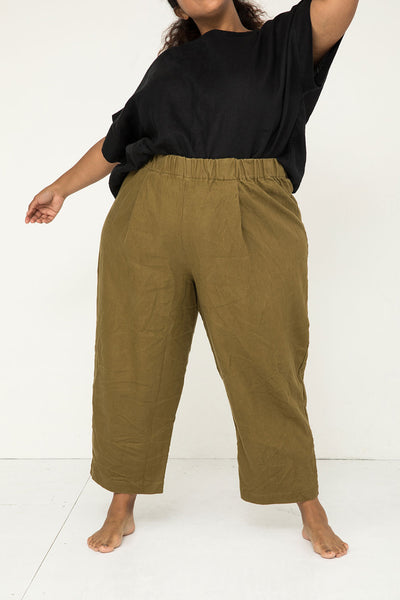 Andy Trouser in Midweight Linen Olive