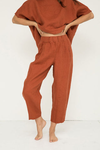 Andy Trouser in Midweight Linen Terra - Molly-XS Short