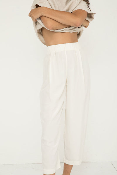 Andy Trouser in Silk Crepe Ivory