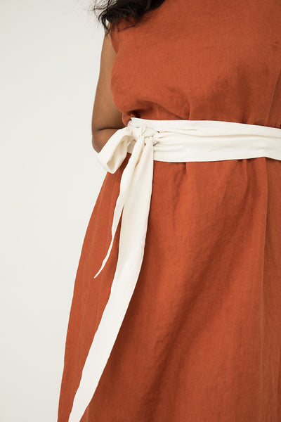 Asawa Tie Belt in Silk Crepe Ivory