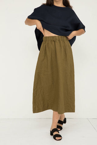 Bel Skirt in Midweight Linen Olive - Molly-XS Short