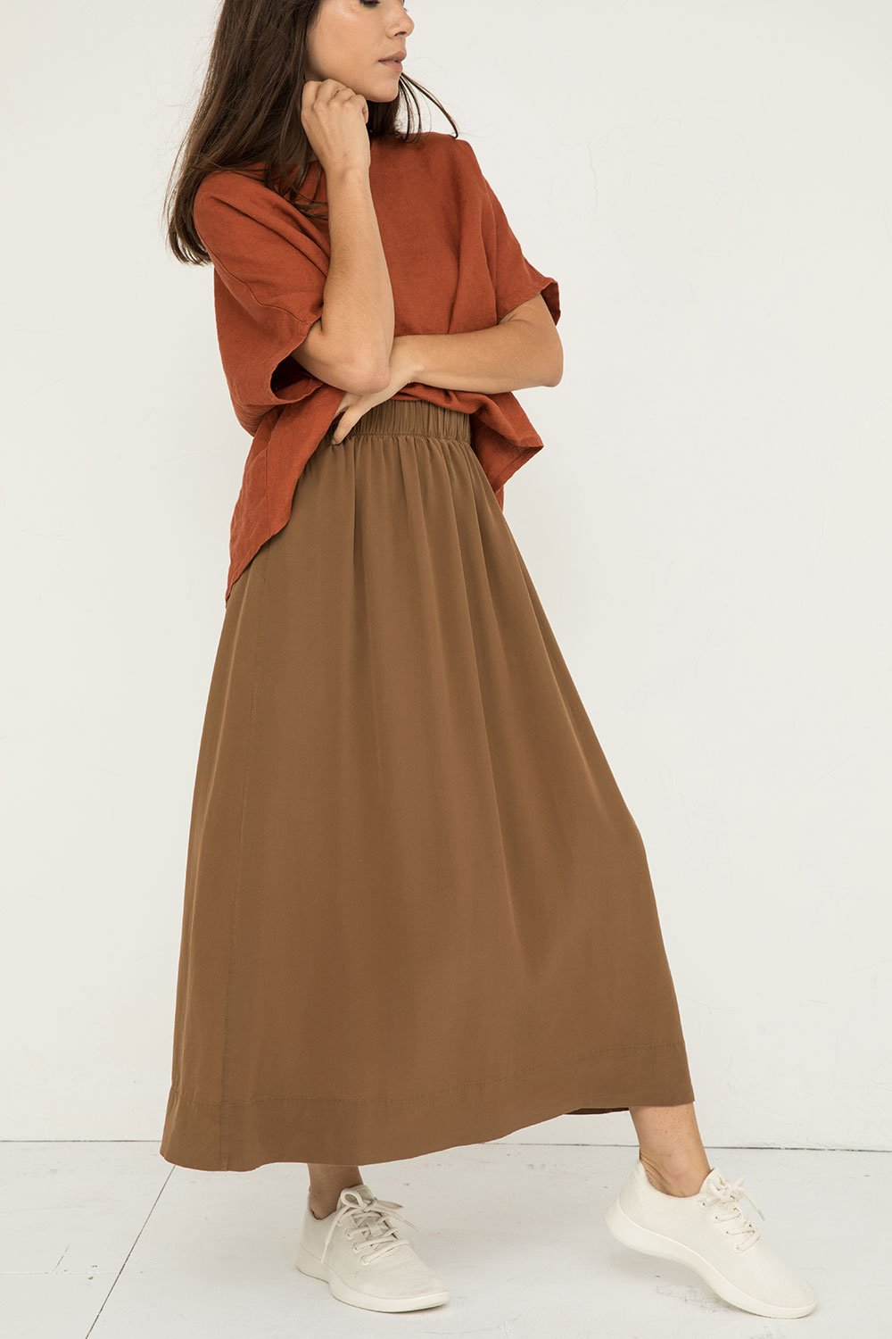 Bel Skirt in Silk Crepe Moss - Molly-XS Short
