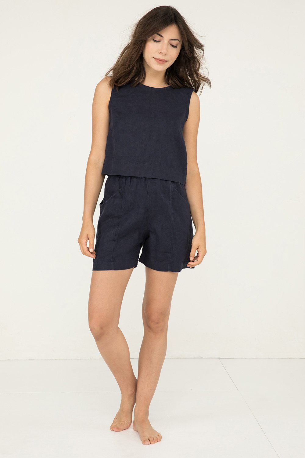 Petra Crop in Midweight Linen Navy - Renee-Small