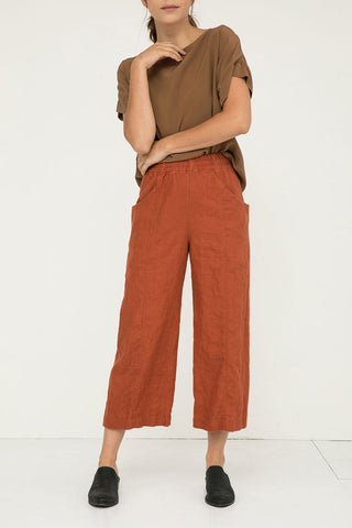 Clyde Culotte in Midweight Linen Terra - Molly-00 Short