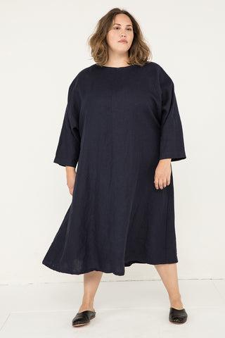 Artist Dress in Midweight Linen Navy - Sam-OSP2