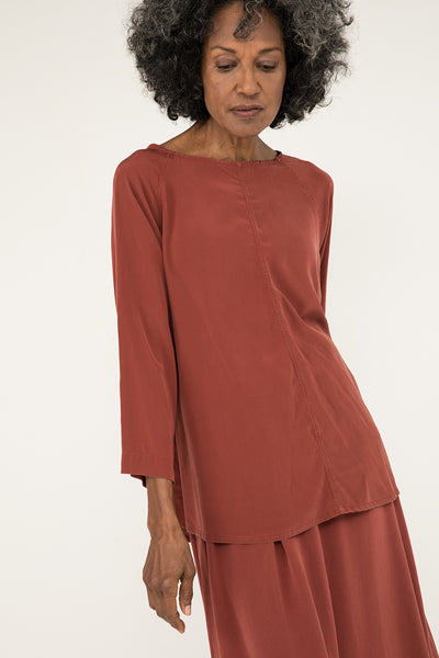 Artist Smock in Silk Crepe Rust