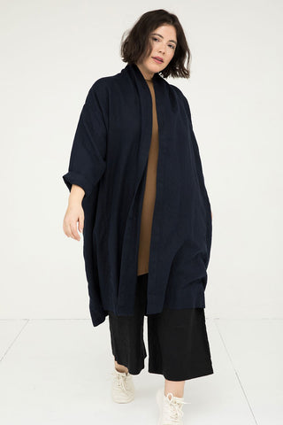 Clyde Trench in Midweight Linen Navy - Anastasia - Large