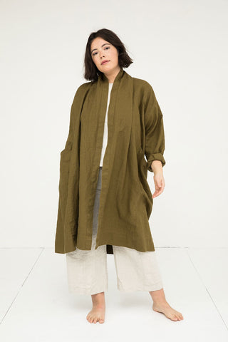Clyde Trench in Midweight Linen Olive - Anastasia - Large