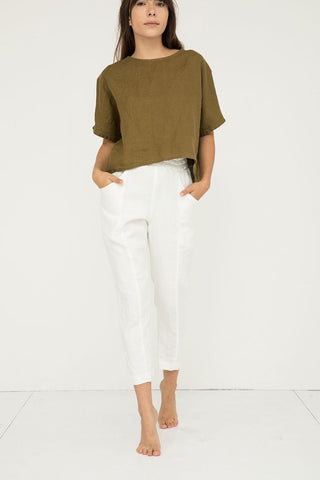 Clyde Work Pant in Midweight Linen Ivory - Molly-00 Short