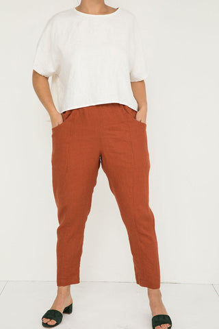 Clyde Work Pant in Midweight Linen Terra - Natalie-10 Regular