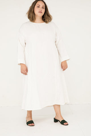 Parabola Dress in Midweight Linen Ivory - Sam-2XL