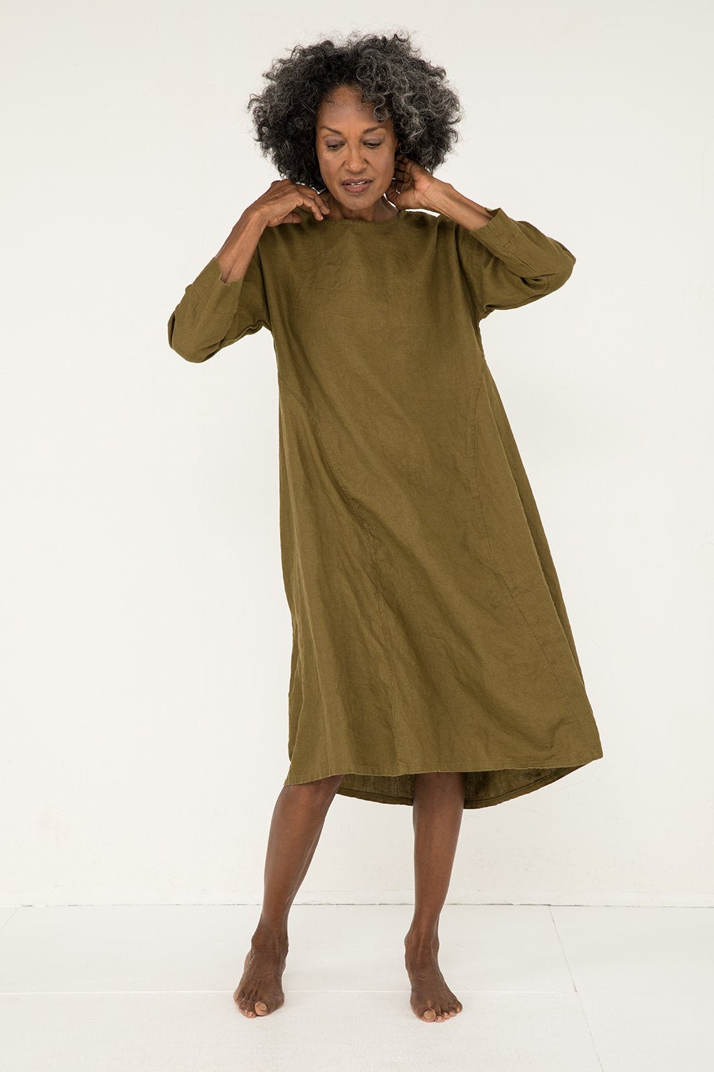 Parabola Dress in Midweight Linen Olive - Pat-S