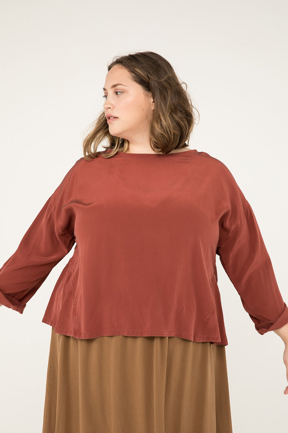 Parabola Top in Silk Crepe Rust - Sam-2XL