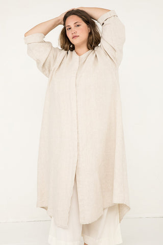 Long Sleeve Kara Snap Dress in Midweight Linen Flax - Sam-2XL