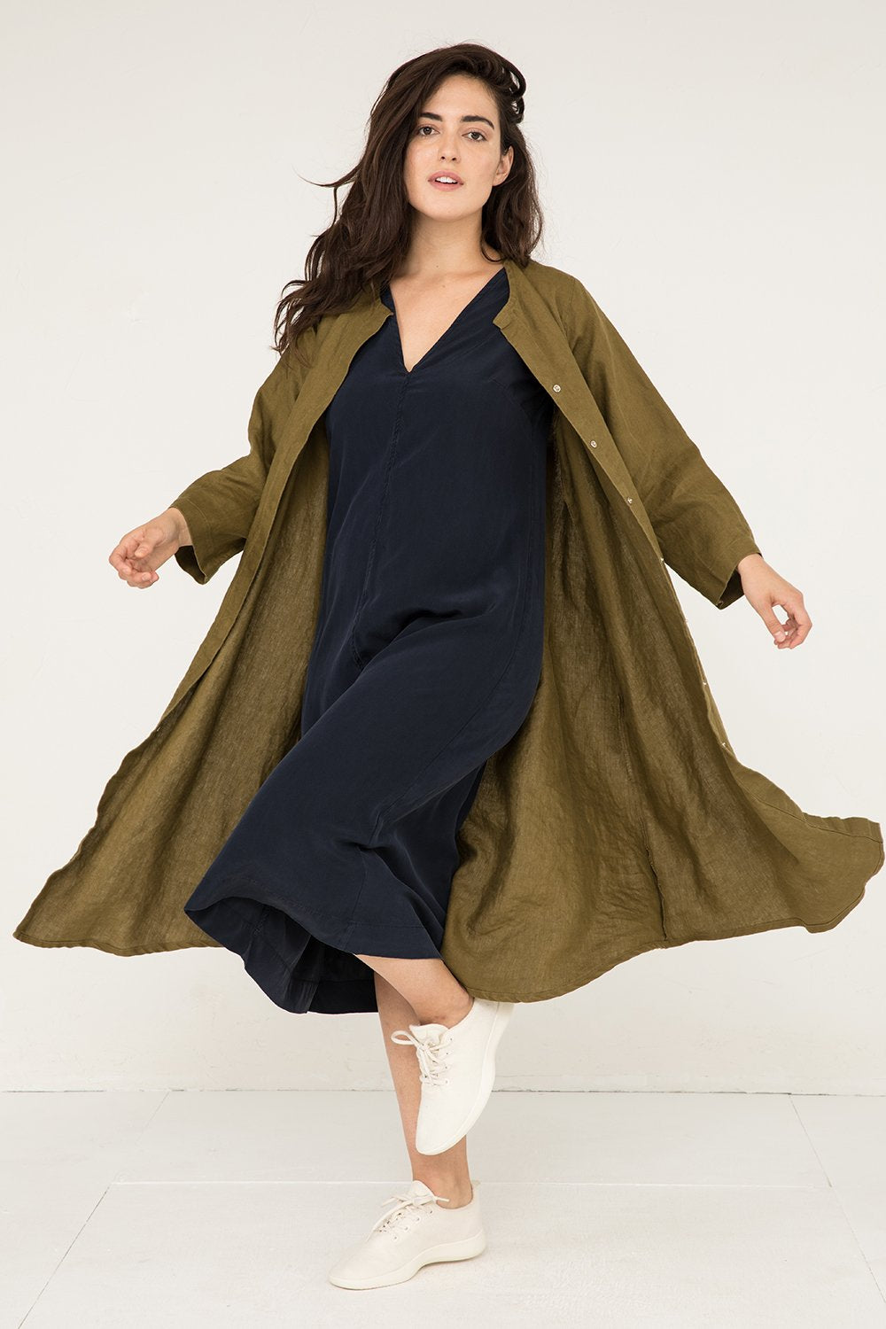 Long Sleeve Kara Snap Dress in Midweight Linen Olive - Natalie-M