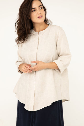 Long Sleeve Kara Snap Top in Midweight Linen Flax - Natalie-M