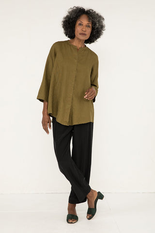 Long Sleeve Kara Snap Top in Midweight Linen Olive - Pat-S
