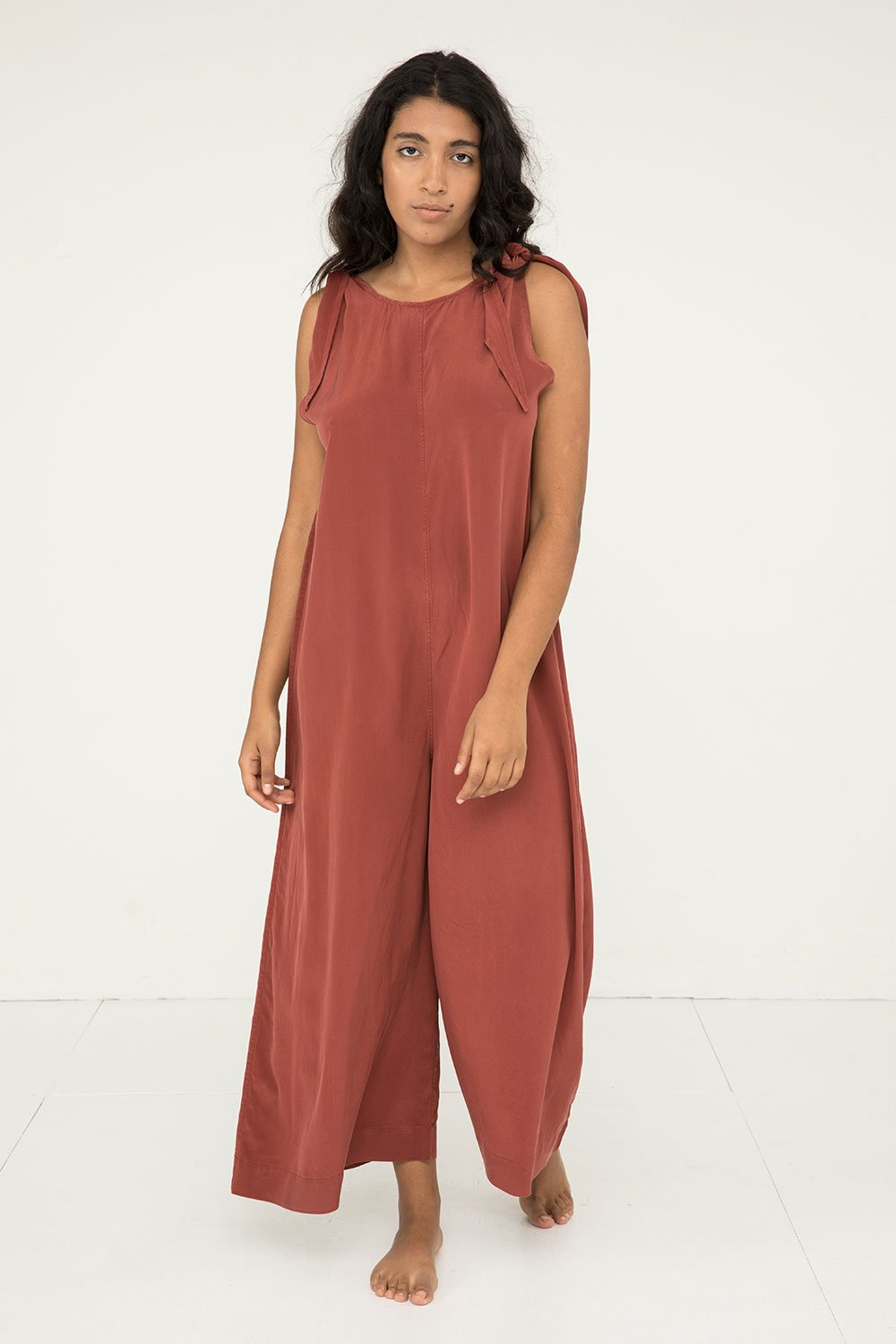 Isadora Tie Jumpsuit in Silk Crepe Rust - Nouri-M Regular