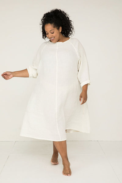 Artist Dress in Linen Gauze Ivory