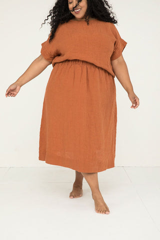 Bel Skirt in Linen Gauze Amber – Alex-3XL Regular