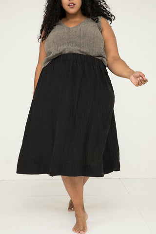 Bel Skirt in Linen Gauze Black - Alex-3XL Regular