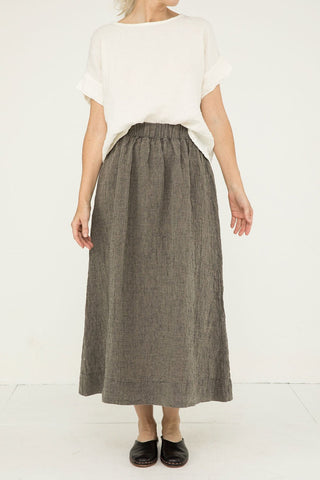 Bel Skirt in Linen Gauze Pepper - Kendall-Small Regular