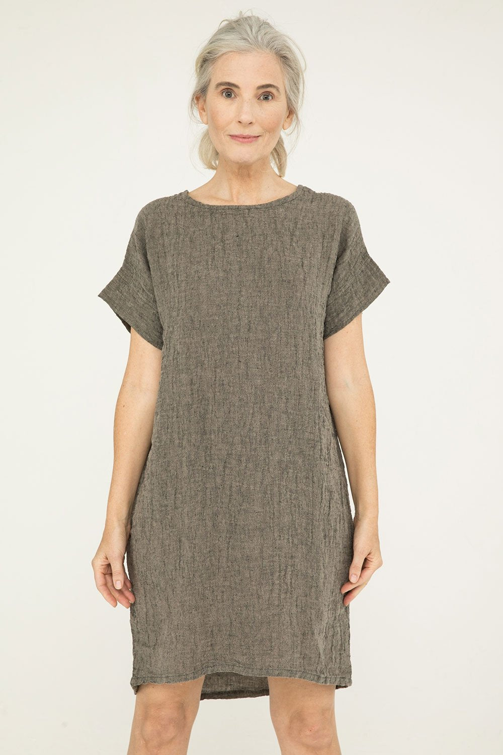 Georgia Dress in Linen Gauze Pepper- Kendall-OSM