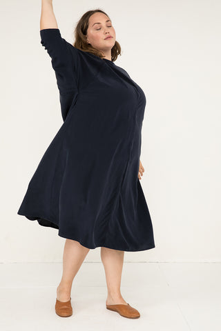 Navy Silk Crepe by the Yard