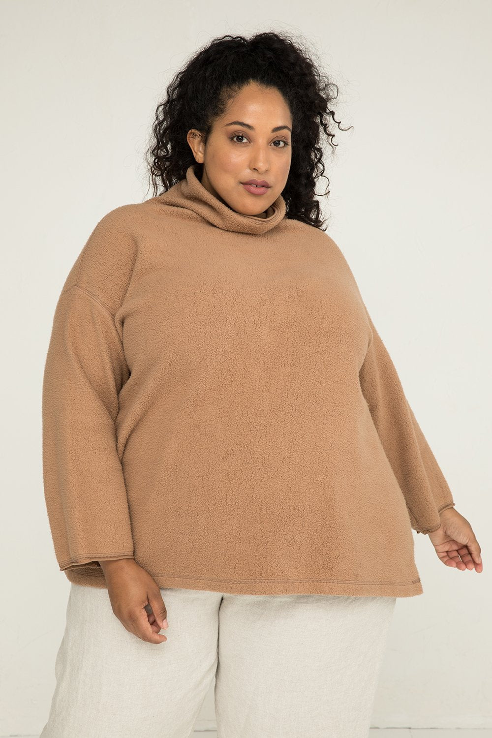 Margaret Turtleneck in Textured Cotton Knit Caramel - Alex-2XL