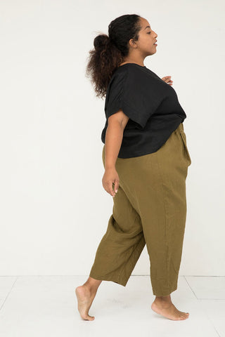 Andy Trouser in Midweight Linen Olive - Alex-3XL Regular