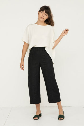 Clyde Culotte in Midweight Linen Black - Molly-00 Short