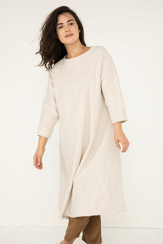 Artist Dress in Midweight Linen Flax - Natalie-OS
