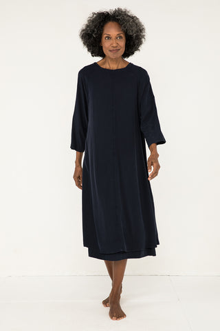 Artist Dress in Silk Crepe Navy - Pat-OS