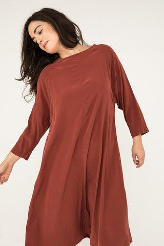 Artist Dress in Silk Crepe Rust - Natalie-OS