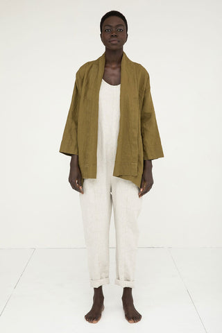 Clyde Jacket in Midweight Linen Olive - Nyamuoch - Large
