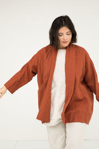 Clyde Jacket in Midweight Linen Terra - Anastasia - Large