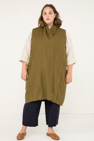 Clyde Vest in Midweight Linen Olive - Sam-2XL