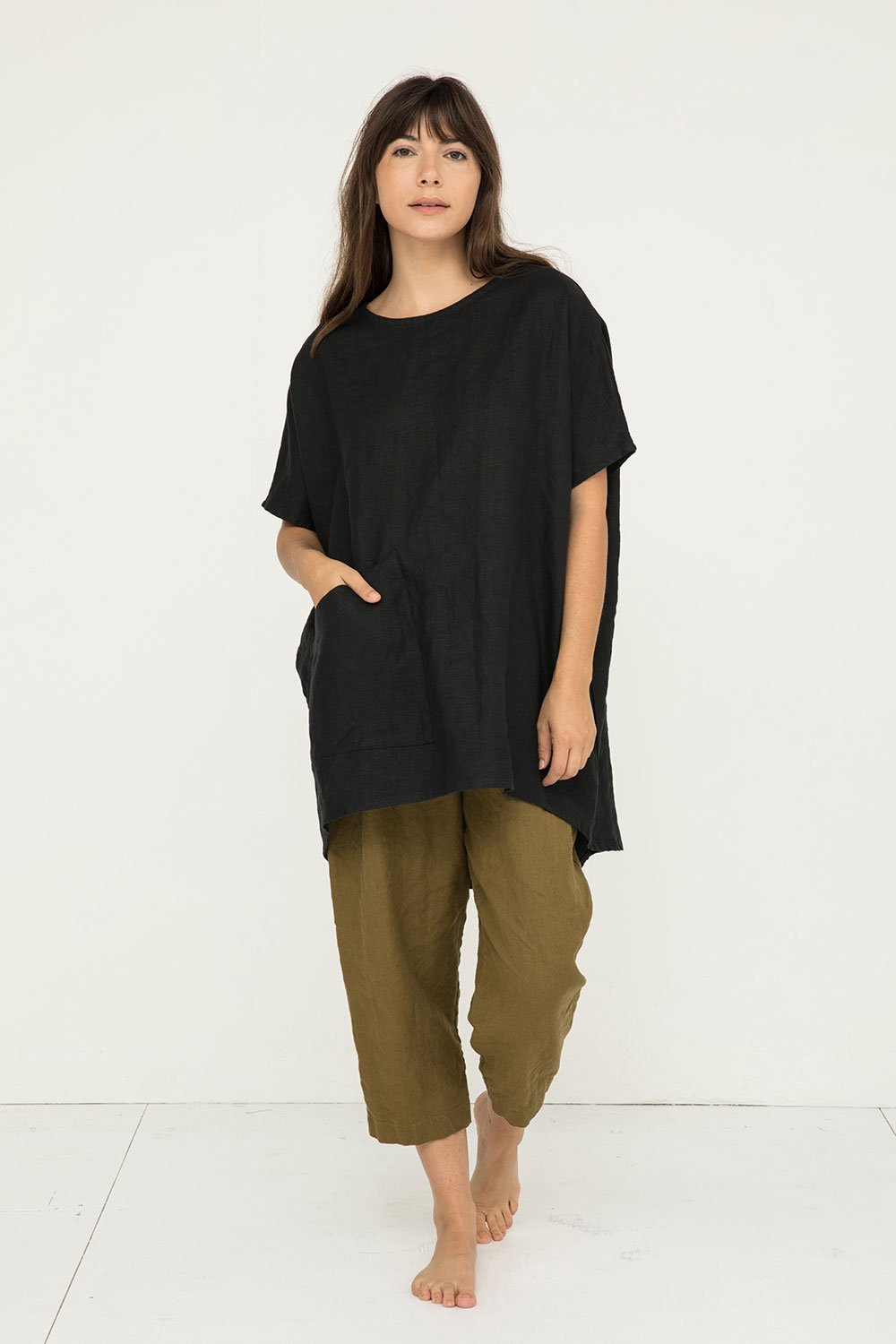 Harper Tunic in Midweight Linen Black - Molly-OSM