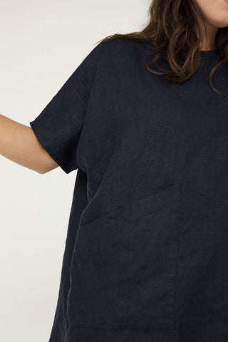 Harper Tunic in Midweight Linen Navy - Natalie-OS