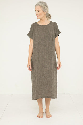 Georgia Midi in Linen Gauze Pepper- Kendall-OSM