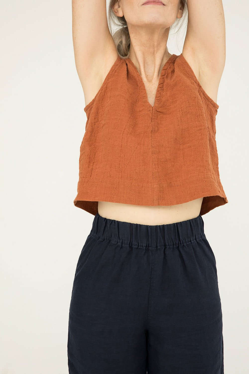 Polly Crop in Linen Gauze Amber - Kendall-Small