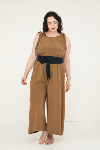 Asawa Tie Belt in Silk Crepe Navy - Yasmin-OSP