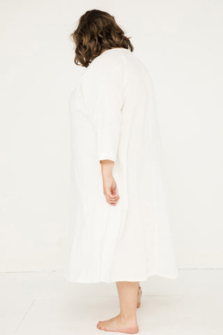 Artist Dress in Midweight Linen Ivory - Sam-OSP2
