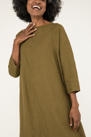 Artist Dress in Midweight Linen Olive - Pat-OS