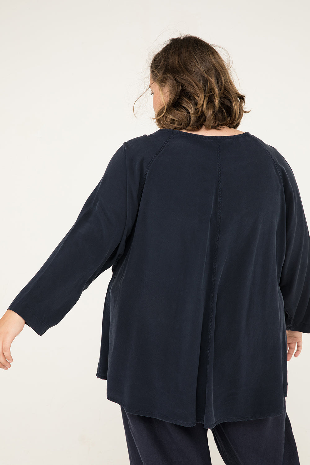 Artist Smock in Silk Crepe Navy - Sam-OSP2