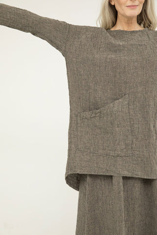 Long Sleeve Harper Tunic in Linen Gauze Pepper- Kendall-OSM