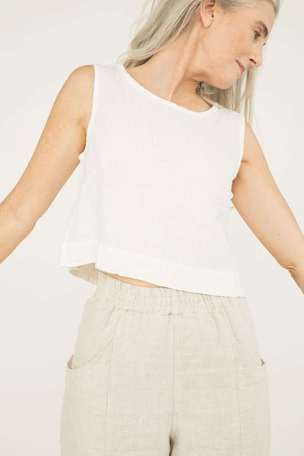 Petra Crop in Linen Gauze Ivory - Kendall-Small