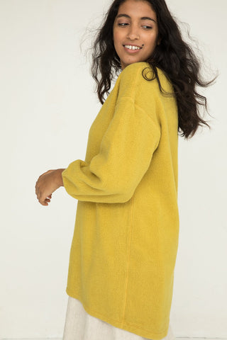 Billie Sweater Dress in Textured Cotton Knit Citron - Nouri-M