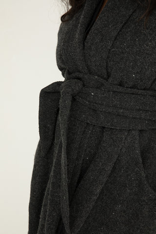 Asawa Tie Belt in Lightweight Wool Charcoal - Nouri-OS