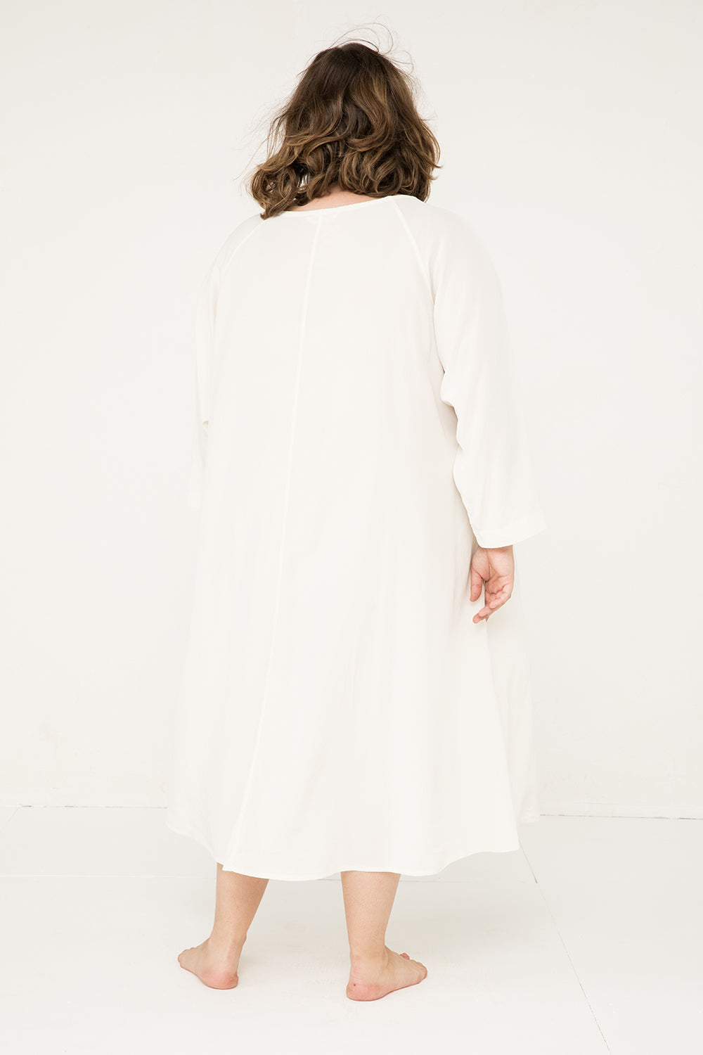 Artist Dress in Silk Crepe Ivory - Sam-OSP2